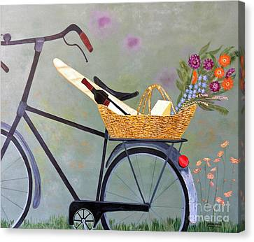 A Bicycle Break Canvas Print by Brenda Brown
