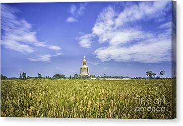 Angthong Canvas Print - A Biggest Buddha In Thailand by Anek Suwannaphoom