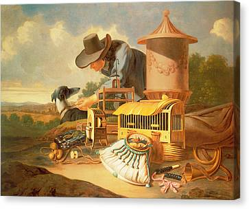 A Birdcatcher And His Dog  Canvas Print