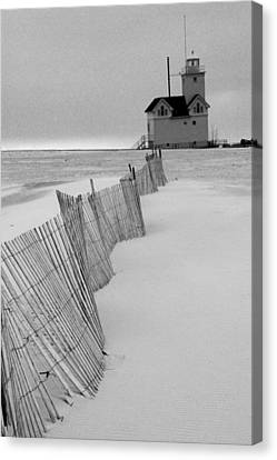A Black And White Photograph Of The Lighthouse Big Red In Holland Michigan Canvas Print