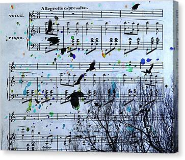 A Melody Of Blackbirds Canvas Print by Gothicrow Images
