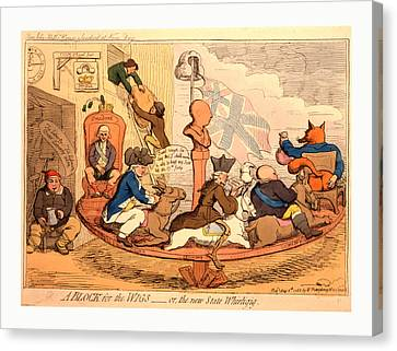 A Block For The Wigs Or, The New State Whirligig, Gillray Canvas Print by English School