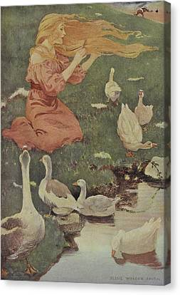 A Blonde Haired Women With Geese Canvas Print by British Library