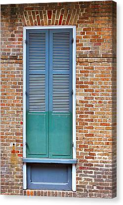 Old Houses Canvas Print - A Blue Door In New Orleans by Christine Till