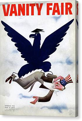 Political Allegory Canvas Print - A Blue Eagle Carrying Uncle Sam by Paolo Garretto