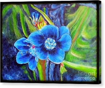 Exotic Blue Flower Prize For Blue Dragonfly Canvas Print by Kimberlee Baxter