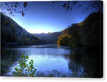 A Blue Lake In The Woods Canvas Print