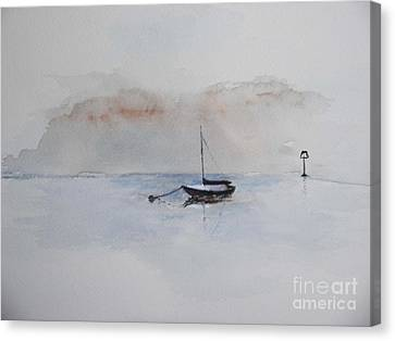 Canvas Print featuring the painting A Blue Mooring by Sibby S