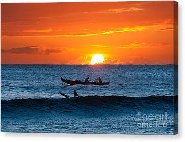 A Boat And Surfer At Sunset Maui Hawaii Usa Canvas Print
