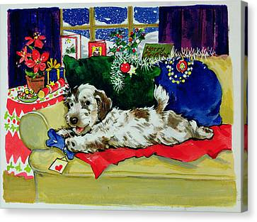 Doggy Cards Canvas Print - A Bone For Christmas by Diane Matthes