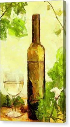 A Bottle Of Wine Canvas Print by Yury Malkov