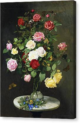 A Bouquet Of Roses In A Glass Vase By Wild Flowers On A Marble Table Canvas Print by Otto Didrik Ottesen