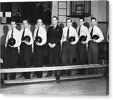 A Bowling Team With Balls Canvas Print by Underwood Archives
