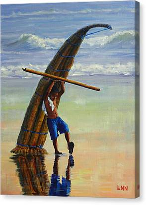 A Boy And His Caballito De Totora, Peru Impression Canvas Print