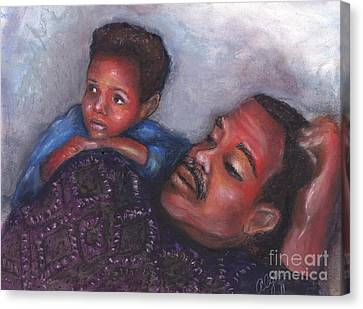 Canvas Print featuring the mixed media A Boy And His Dad by Alga Washington