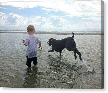 A Boy And His Dog  Canvas Print by Bonnes Eyes Fine Art Photography