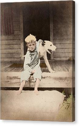 Canvas Print featuring the photograph A Boy And His Dog by Ron Crabb