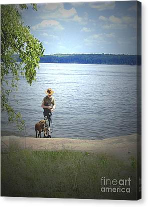 A Boy And His Dog Canvas Print by Sandra Clark
