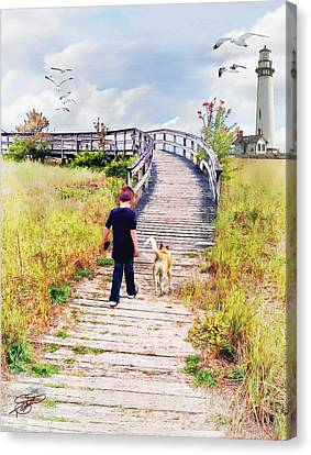 Tom Schmidt Canvas Print - A Boy And His Dog by Tom Schmidt