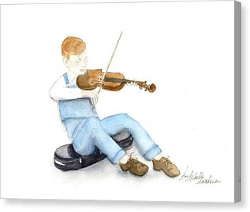 A Boy And His Violin Canvas Print by Ann Michelle Swadener