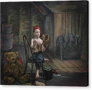 A Boy In The Attic With Old Relics Canvas Print by Pete Stec