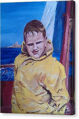 A Boy On A Boat Canvas Print by Jack Skinner