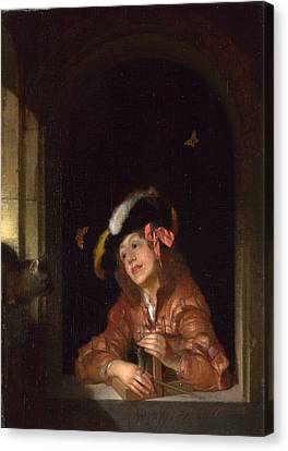 A Boy With A Mousetrap Canvas Print by Adriaen van der Werff