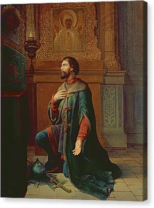 A Boyar Before The Campaign, 1871 Oil On Canvas Canvas Print by Petr Mikhailovich Shamshin