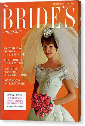Wedding Bouquet Canvas Print - A Bridal In Wedding Dress Smiling At Camera by Peter Oliver