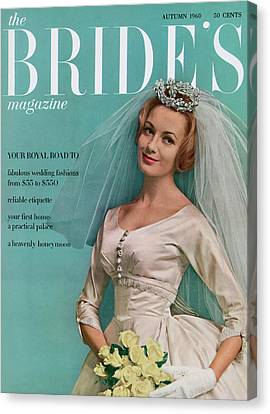 Wedding Bouquet Canvas Print - A Bride In A Ivory Wedding Dress by Eveyln Hofer