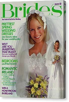 Wedding Bouquet Canvas Print - A Bride Wearing A Bill Schad Mendocino Dress by Richard Ballarian