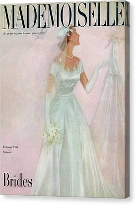 A Bride Wearing A Mindelle Dress Canvas Print by Somoroff