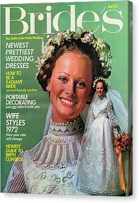 Wedding Bouquet Canvas Print - A Bride Wearing A Shel Walker For Portrait by Richard Ballarian