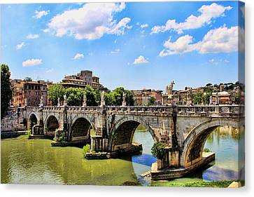 A Bridge In Rome Canvas Print by Oscar Alvarez Jr