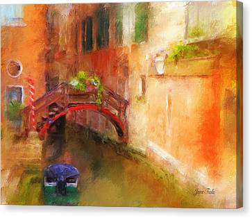 A Bridge In Venice Canvas Print by Jane Fiala