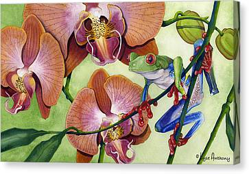 Frog Watercolor Canvas Print - A Bright Day by Lyse Anthony