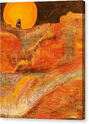 A Brighter Night With Kokopelli On A Marmalade Moon Night Canvas Print by Anne-Elizabeth Whiteway