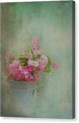 A Bucketful Of Pink Cottage Garden Flowers Canvas Print by Carla Parris