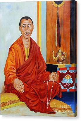 A Buddhist Monk Canvas Print by Divya Kakkar