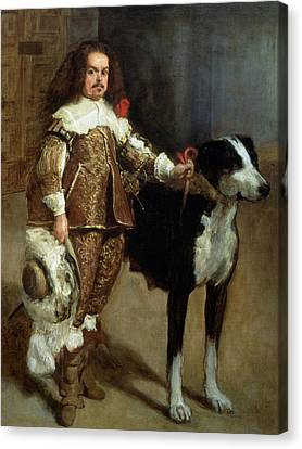 Tiny Dogs Canvas Print - A Buffoon Sometimes And Incorrectly Called Antonio The Englishman by Diego Rodriguez de Silva y Velazquez