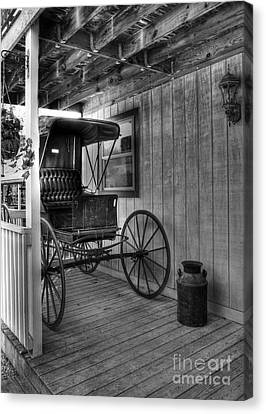 A Buggy On A Porch Bw Canvas Print
