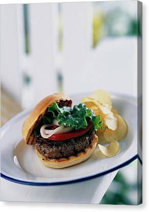 A Burger With Potato Chips Canvas Print
