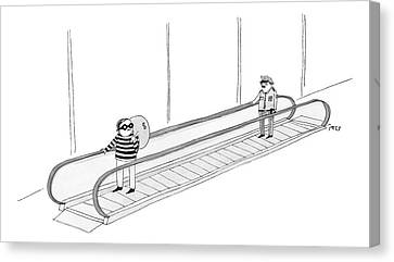 A Burglar Is On A Moving Walkway Holding A Bag Canvas Print by Edward Steed