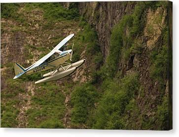 A Bush Pilot Flies His Float Plane Canvas Print by John Alves