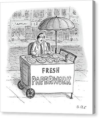 Fresh Canvas Print - A Businessman Sits Behind A Food Cart/desk by Roz Chast