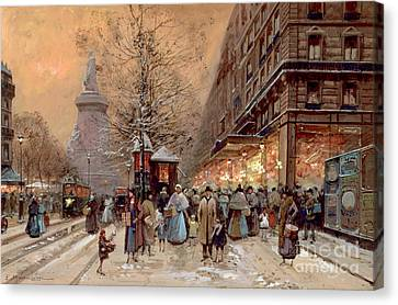 Winter Roads Canvas Print - A Busy Boulevard Near The Place De La Republique Paris by Eugene Galien-Laloue