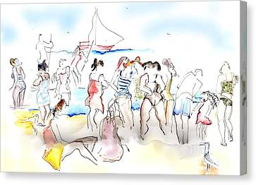 A Busy Day At The Beach Canvas Print by Carolyn Weltman