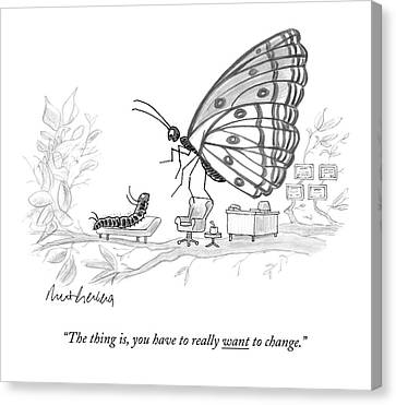 Changing Canvas Print - A Butterfly Speaks To A Caterpillar by Mort Gerberg
