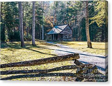 A Cabin In Cades Cove Canvas Print by Marilyn Carlyle Greiner