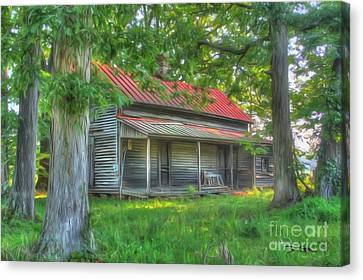 A Cabin In The Woods Canvas Print by Dan Stone